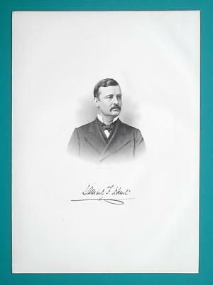 SAMUEL F HUNT Ohio Soldier & Counselor at Law - 1883 Superb Portrait Print