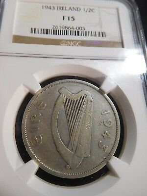 M65 Ireland 1943 1/2 Crown NGC Fine-15 KEY Date Extremely RARE
