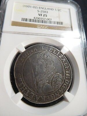 M77 Great Britain England (1601-1602) 1/2 Crown S-2583 NGC VF-25