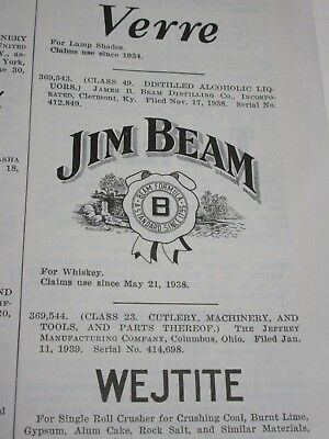1939 Patent Book post-prohibition registration of Jim Beam Trademark