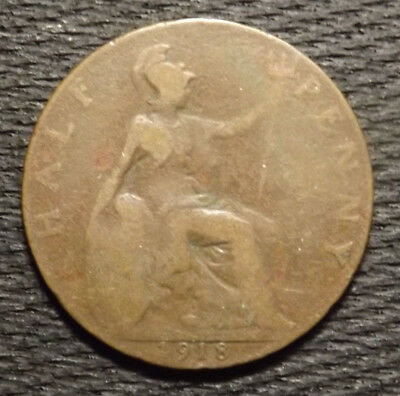 Coin Of Great Britain One Half Penny 1918 World War I  Uk