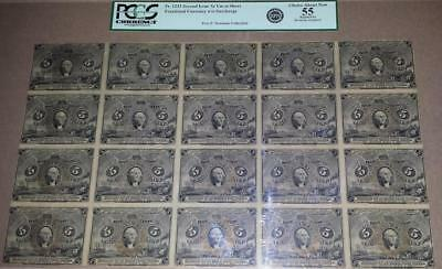BLOCK OF 20 UNCUT SHEET 5 CENT FRACTIONAL NOTES POSTAGE CURRENCY Fr 1232 PCGS 55