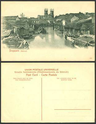 Malacca Singapore, River Scene Bridge Church Cathedral Boats Houses Old Postcard