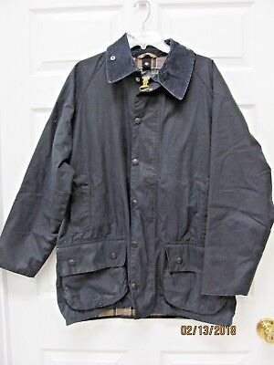 Barbour BEAUFORT Jacket Navy Waxed Cotton Game Pocket Men's 42 Made in England