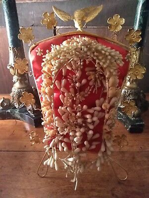 French antique wedding globe stand 19th with crown wax flowers