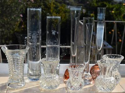 Bulk Lot of 10 Assorted Glass Vases - Bud / Controlled Bubble / Crown Crystal