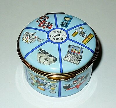 Halcyon Days English Enamel Box -Time Capsule 2000- Le 348/500 - Longfellow -Mib