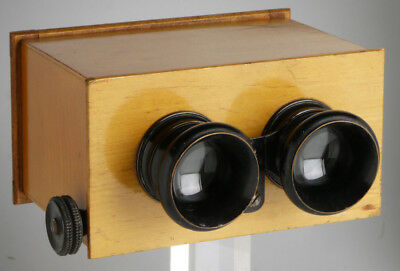 antique stereoscope for 6x13cm glass plates _ vintage wooden stereo viewer __ 3D
