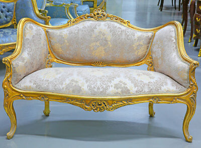 French Canape SOFA, ROCOCO SEATING BENCH, LUXUS bequemes POLSTERSOFA gold-gelb