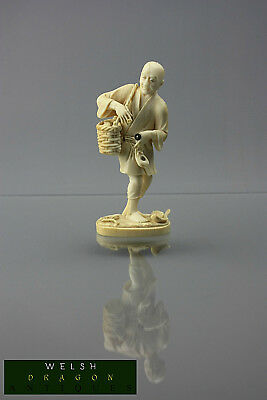 Museum High Quality Cattle Bone Japanese Netsuke Fisherman With Catch Very Rare