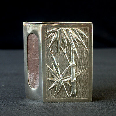 Antique Chinese Export Solid Silver Bamboo Vesta Match Book Signed Hallmark
