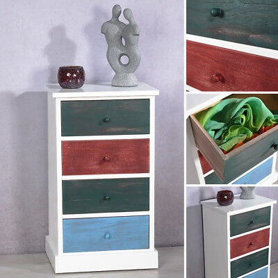 Kommode Regal mit 4 bunten Schubladen Patchwork Design Shabby Schrank Highboard