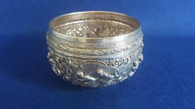 Terrific Early 20th Cent Siam Sterling Silver Bowl w Repoussé Temple Scenes 118g