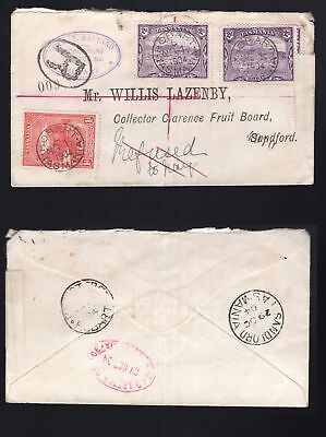 Tasmania reg. 2 x 2d pictorial cover 1904 red oval DEAD LETTER OFFICE on reverse