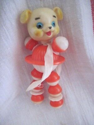 Vintage Mint Plastic BABY RATTLE CRIB TOY  ~ CUTE HANDPAINTED BEAR FACE