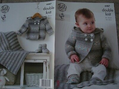 """King Cole 4487 Baby's Jacket, Bootees & Blanket DK Knitting Pattern Sizes 14-22"""""""