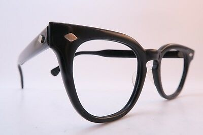 Vintage 50s American Optical eyeglasses frames black acetate 7BRL hinges 46-22