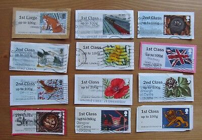 GB Used Stamps POST & GO LABELS All Diff Pictorials x12 Recent Kiloware (F)
