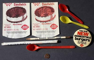 1950-70s Dairy Queen EIGHT Piece set-2 wrappers-3 spoons-straw-pencil-pin-COOL!
