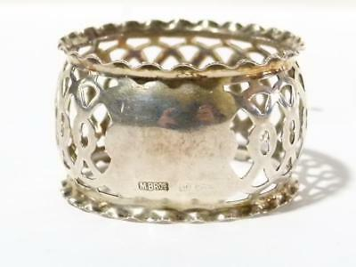 Antique Silver Napkin Ring 1916 with Pierced Pattern Scalloped Vacant Cartouche