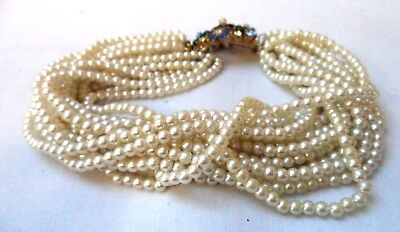 "Stunning Vintage Estate Signed Marvella Faux Pearl Beaded 9"" Bracelet!!!! 8575X"