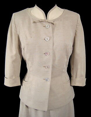 Vintage 1950's SKIRT SUIT Tailored 50's Wiggle Dress Oyster Pin Up Jacket Blazer