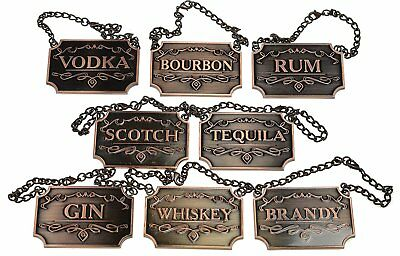 Gorgeous Liquor Decanter Tags Labels Set of 8 STUNNING Copper w Adjustable Chain