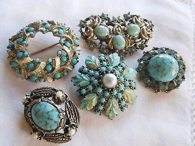 Lovely Collection of Vintage 1950s/60s Blue Glass Stone Brooches
