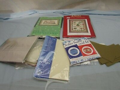Job Lot Cross Stitch Fabric Including 2 Kits## Keg 55A Sd