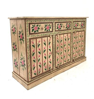 Vintage French Painted Bohemian Arts & Crafts Oak Farmhouse Sideboard Cabinet