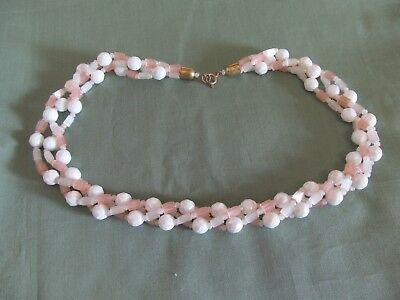 """Vintage 3 Strand Twisted Bead Glass AB Coated 18"""" Necklace"""