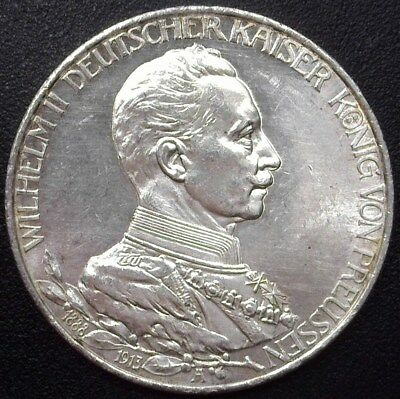 Prussia 1913-A Silver 3 Mark -German State- Choice Uncirculated