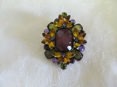 "Very Colorful Rhinestone Brooch 2"" x 1 1/2"""
