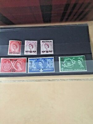 6x Bahrain overprints on British Stamps