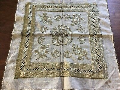 Antique Ottoman embroidery.  All gold- coloured metallic threads. Heavy