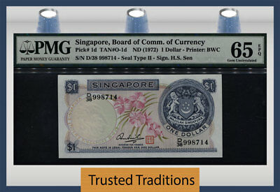 TT PK 1d 1972 SINGAPORE BOARD OF COMM. OF CURRENCY $1 PMG 65 EPQ GEM UNC!