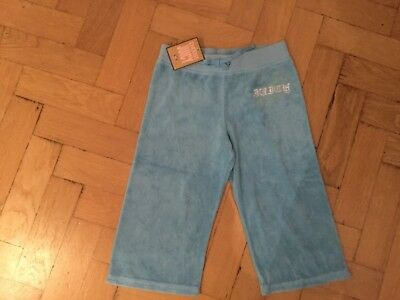 NWT Juicy Couture New & Gen. Girls Age 8 Blue Cotton Crop Leg Pants With Logo