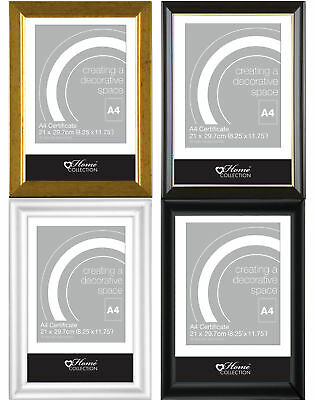 A4 Certificate Photo Frame Glass Front Wall Mounting Clip Stand Various Colours