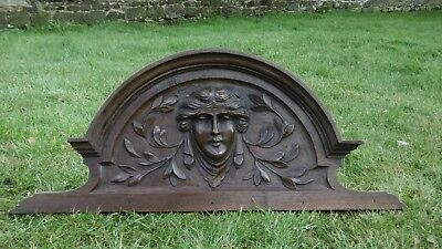 SUPERB 19thc  MAHOGANY WOOD PEDIMENT WITH FEMALE HEAD CARVED CENTRALLY