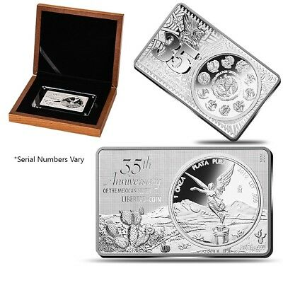 2017 3 oz 35th Anniversary Mexico Libertad Silver Coin and Bar Set Box COA