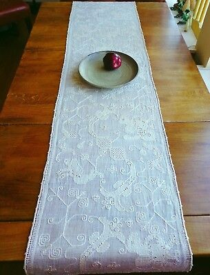 """Antiq Handmade FIGURAL LACE Pulled-Thread Runner Wing Lions Odd Birds Italy 68"""""""