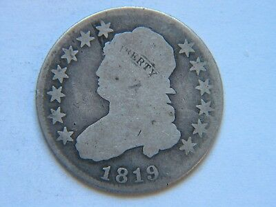 1819 25C Capped Bust Quarter Tough Date Early Large Diameter