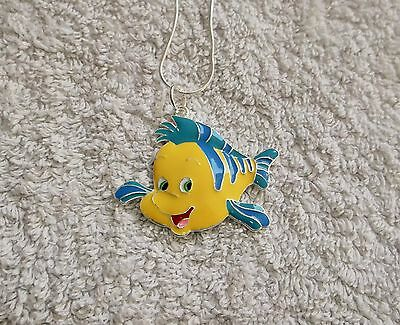 The LITTLE MERMAID ARIEL MOVIE Inspired Large Charm NECKLACE FLOUNDER Fish