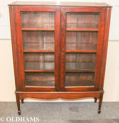 Vintage Stained Wood Display Cabinet / Bookcase with Glazed Doors