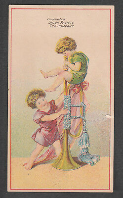 Victorian Trade Card Union Pacific Tea Co. New Haven Connecticut  Tiny Kids