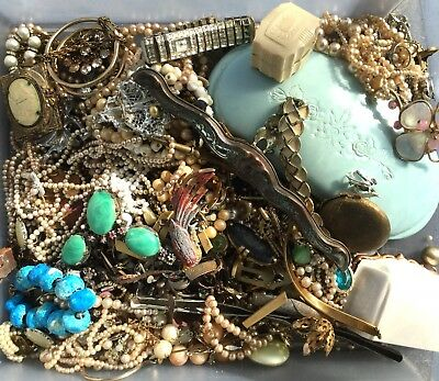 Vintage Art Deco Antique Jewelry Junk Lot Repair Craft Celluloid Box Rings Beads