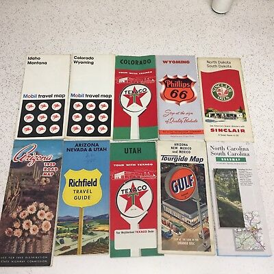 Lot of 10 Vintage Road Maps - Gas Advertising Sinclair, Mobil, Gulf, Texaco,