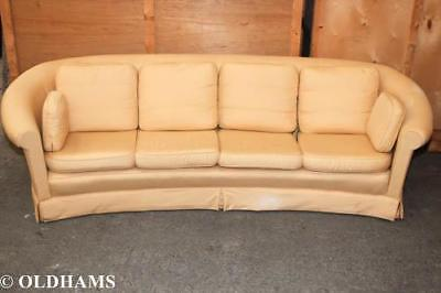 Vintage Mid Century Large Chesterfield Style Curved Sofa in Yellow
