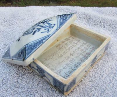 Antique Chinese 19thC Porcelain Seal Paste Box With Calligraphy