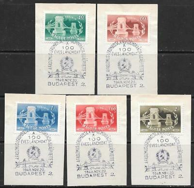 HUNGARY - 1949.  Budapest Chain Bridge - Set of 5, Used on piece with FD Cancels